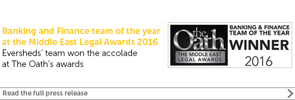 Eversheds win Banking and Finance team of the year at the Middle East Legal awards 2016